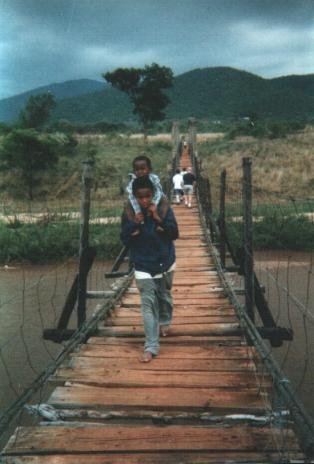 Crossing the river to go to school